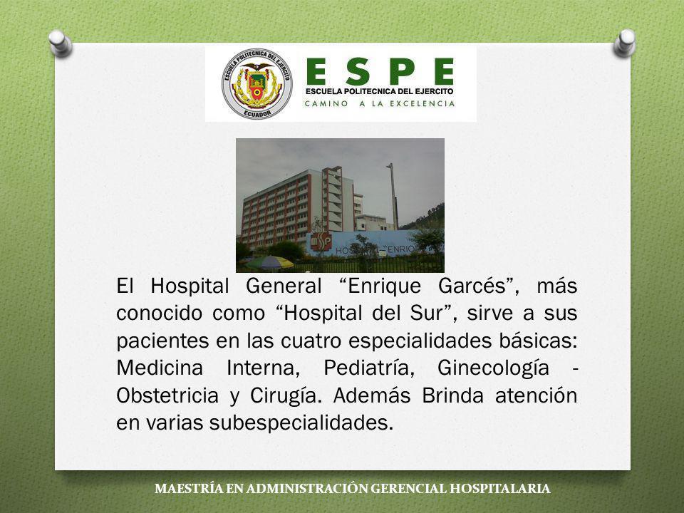 El Hospital General Enrique Garcés , más conocido como Hospital del Sur , sirve a sus pacientes en las cuatro especialidades básicas: Medicina Interna, Pediatría, Ginecología - Obstetricia y Cirugía. Además Brinda atención en varias subespecialidades.