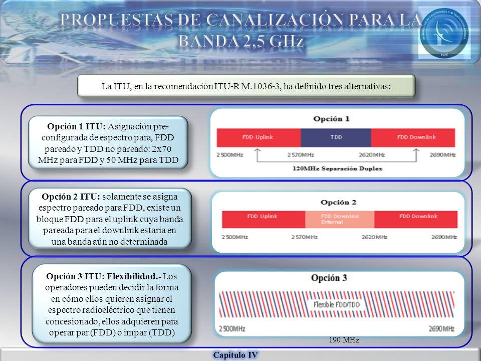 PROPUESTAS DE CANALIZACIÓN PARA LA BANDA 2,5 GHz