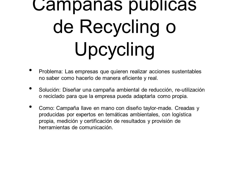 Campañas públicas de Recycling o Upcycling