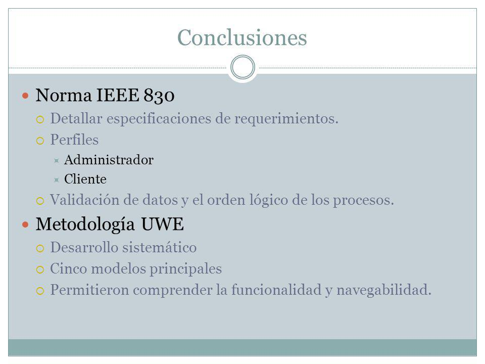 Conclusiones Norma IEEE 830 Metodología UWE
