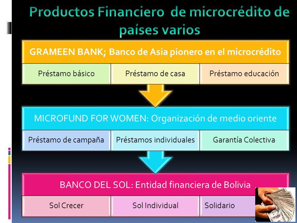 Productos Financiero de microcrédito de países varios