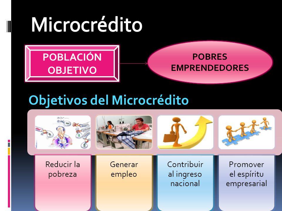 Microcrédito Objetivos del Microcrédito POBLACIÓN OBJETIVO