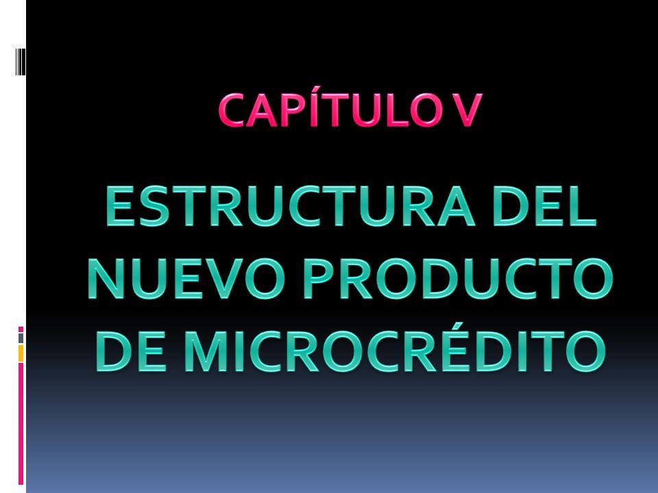 ESTRUCTURA DEL NUEVO PRODUCTO DE MICROCRÉDITO