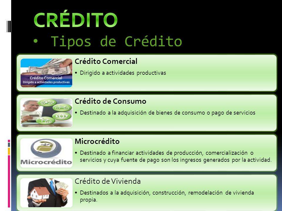 CRÉDITO Tipos de Crédito Crédito Comercial Crédito de Consumo