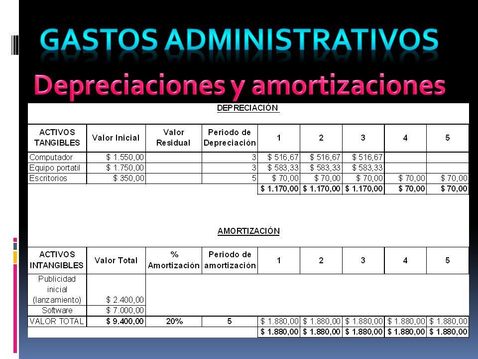 Gastos administrativos Depreciaciones y amortizaciones