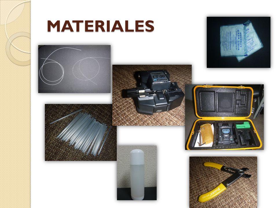 MATERIALES Para realizar la fusión se necesitara los siguientes materiales: Dos hilos de fibra SM o MM.