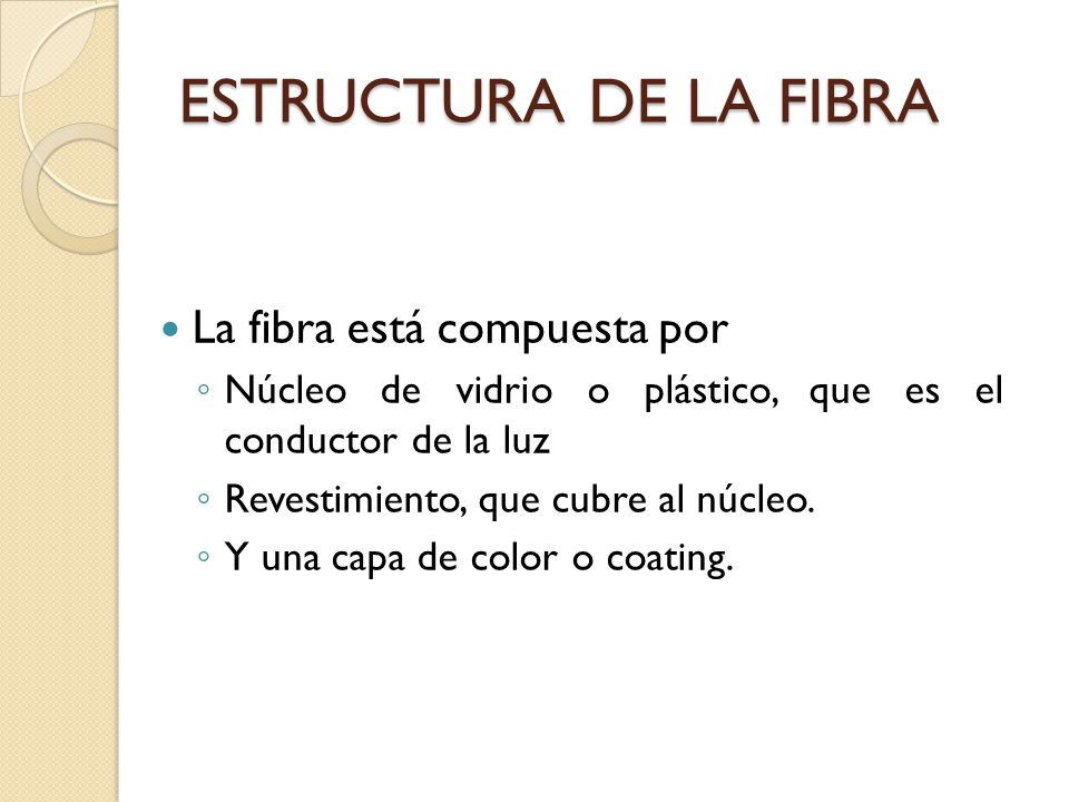 ESTRUCTURA DE LA FIBRA La fibra está compuesta por