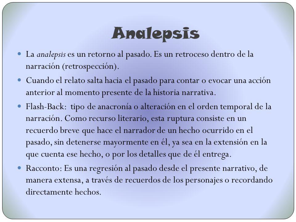 Analepsis La analepsis es un retorno al pasado. Es un retroceso dentro de la narración (retrospección).
