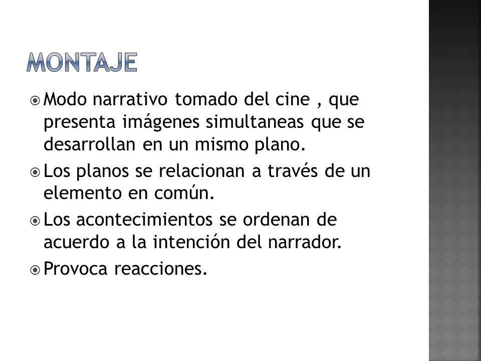 montajeModo narrativo tomado del cine , que presenta imágenes simultaneas que se desarrollan en un mismo plano.