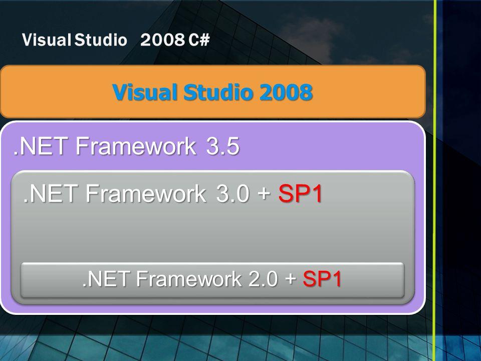 Visual Studio 2008 .NET Framework 2.0 + SP1 Visual Studio 2008 C#