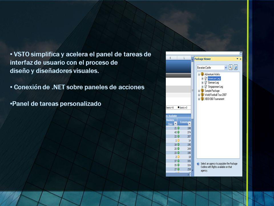 VSTO simplifica y acelera el panel de tareas de interfaz de usuario con el proceso de diseño y diseñadores visuales.