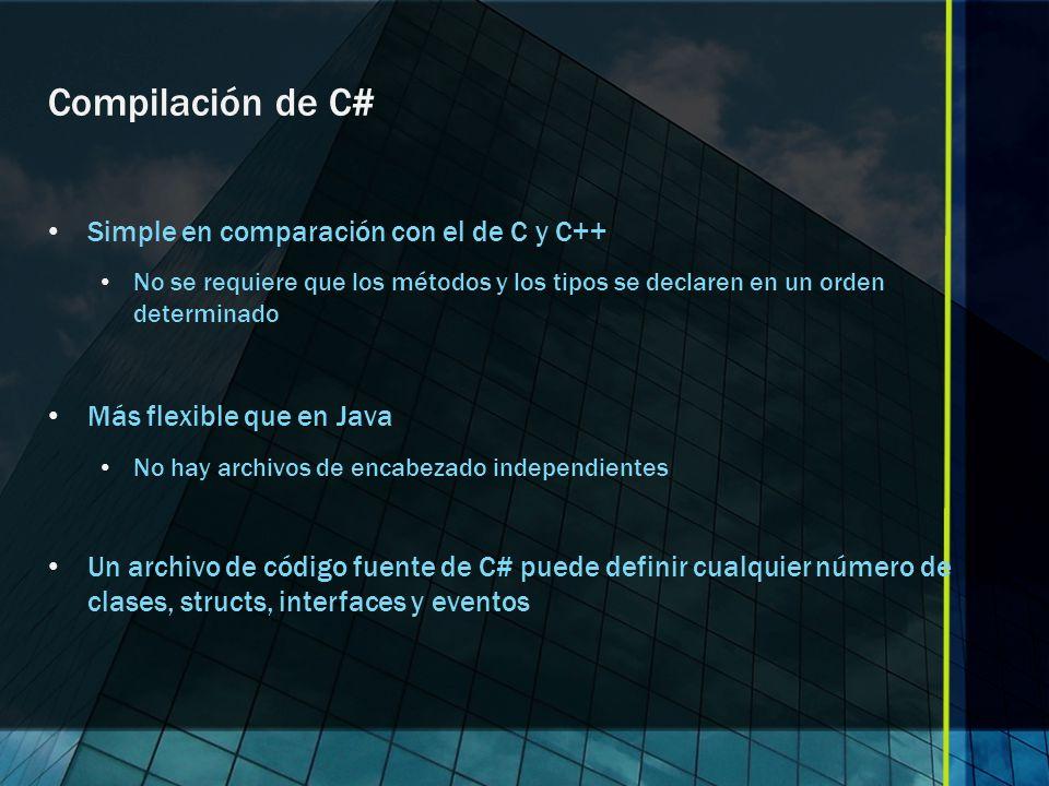 Compilación de C# Simple en comparación con el de C y C++