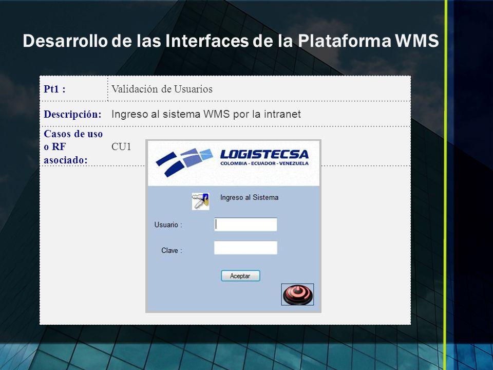 Desarrollo de las Interfaces de la Plataforma WMS