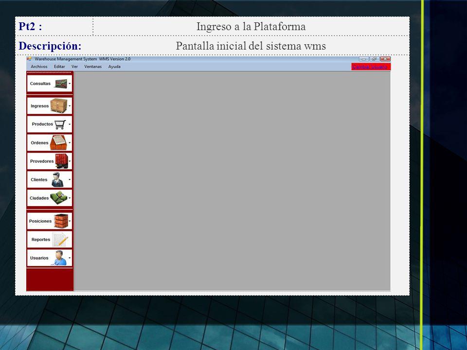 Ingreso a la Plataforma Descripción: Pantalla inicial del sistema wms