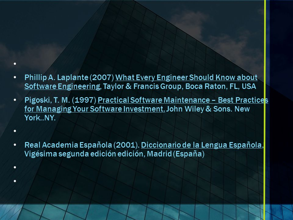Phillip A. Laplante (2007) What Every Engineer Should Know about Software Engineering, Taylor & Francis Group, Boca Raton, FL, USA.