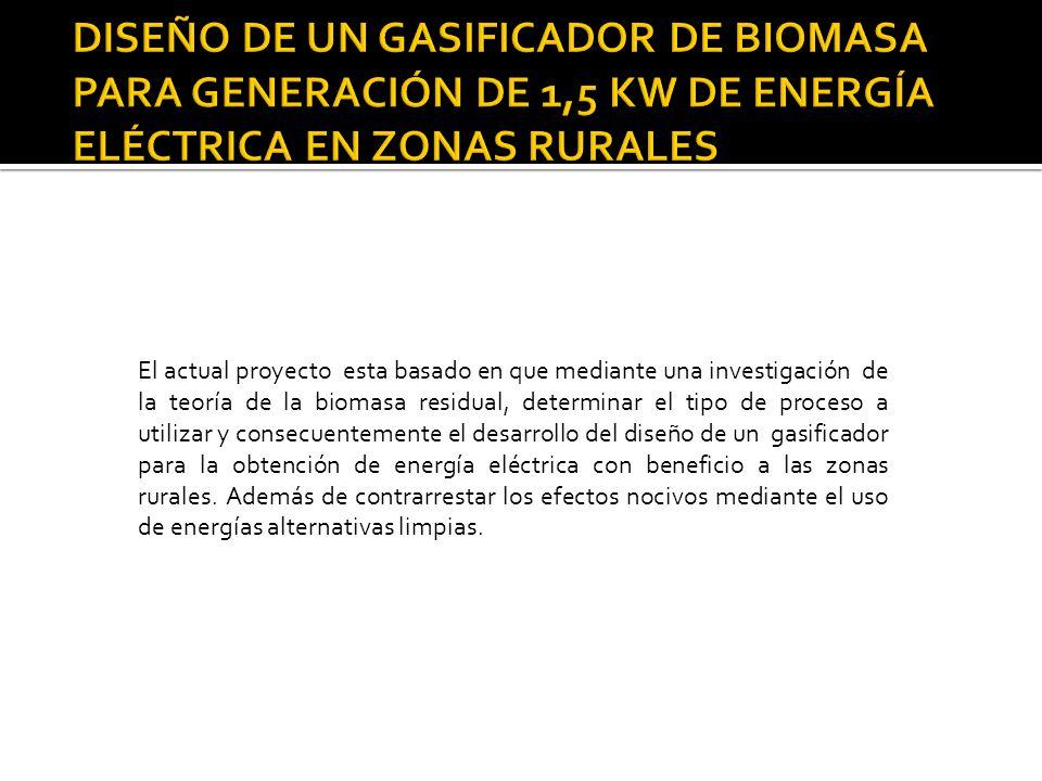 DISEÑO DE UN GASIFICADOR DE BIOMASA PARA GENERACIÓN DE 1,5 KW DE ENERGÍA ELÉCTRICA EN ZONAS RURALES