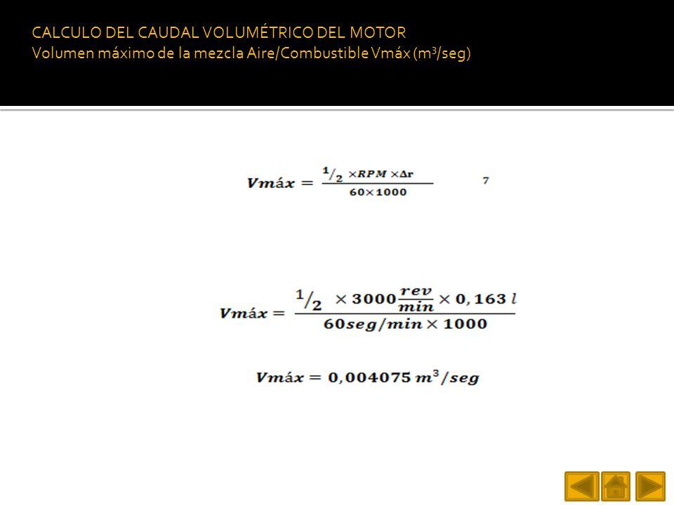 CALCULO DEL CAUDAL VOLUMÉTRICO DEL MOTOR