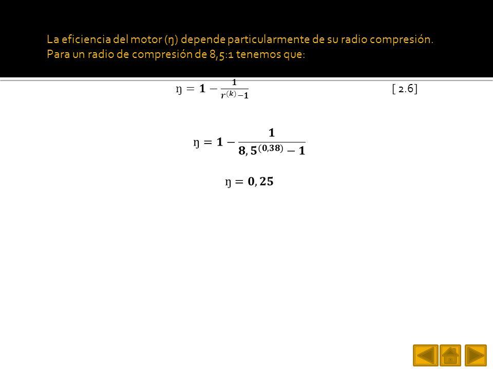 La eficiencia del motor (ŋ) depende particularmente de su radio compresión. Para un radio de compresión de 8,5:1 tenemos que: