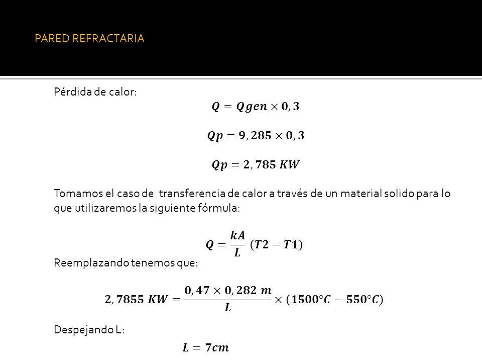 PARED REFRACTARIA Pérdida de calor: 𝑸=𝑸𝒈𝒆𝒏×𝟎,𝟑. 𝑸𝒑=𝟗,𝟐𝟖𝟓×𝟎,𝟑. 𝑸𝒑=𝟐,𝟕𝟖𝟓 𝑲𝑾.