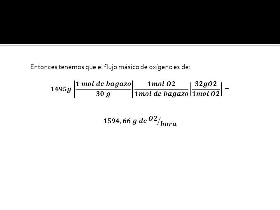 Entonces tenemos que el flujo másico de oxígeno es de: