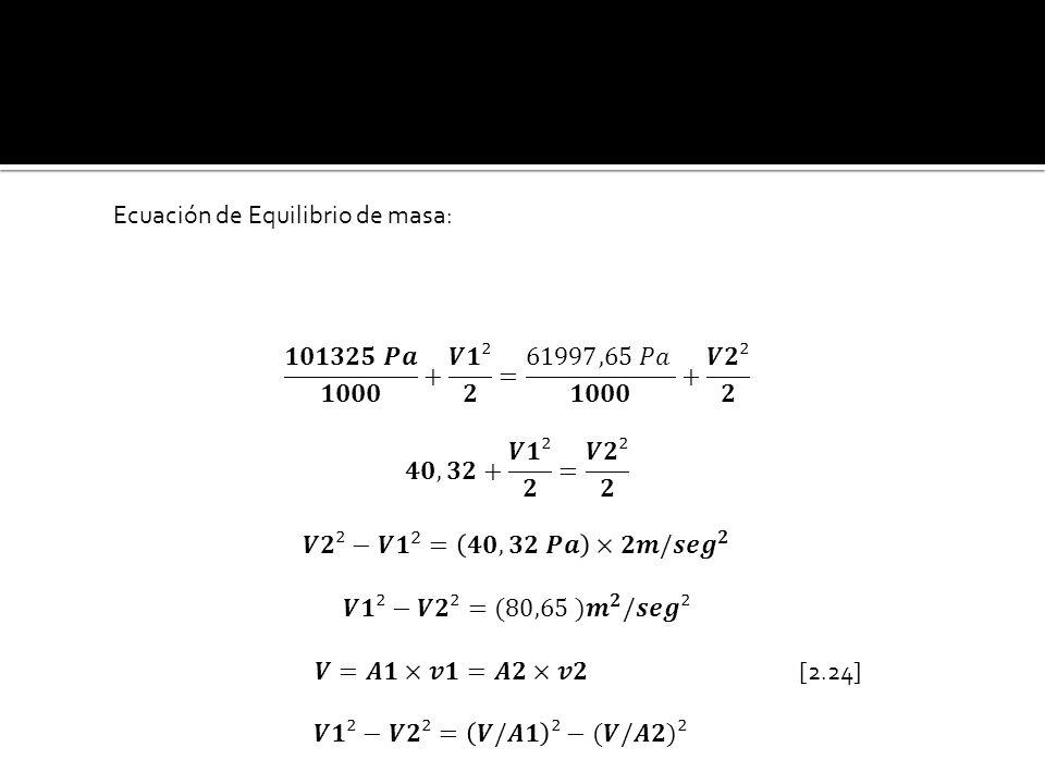 Ecuación de Equilibrio de masa: