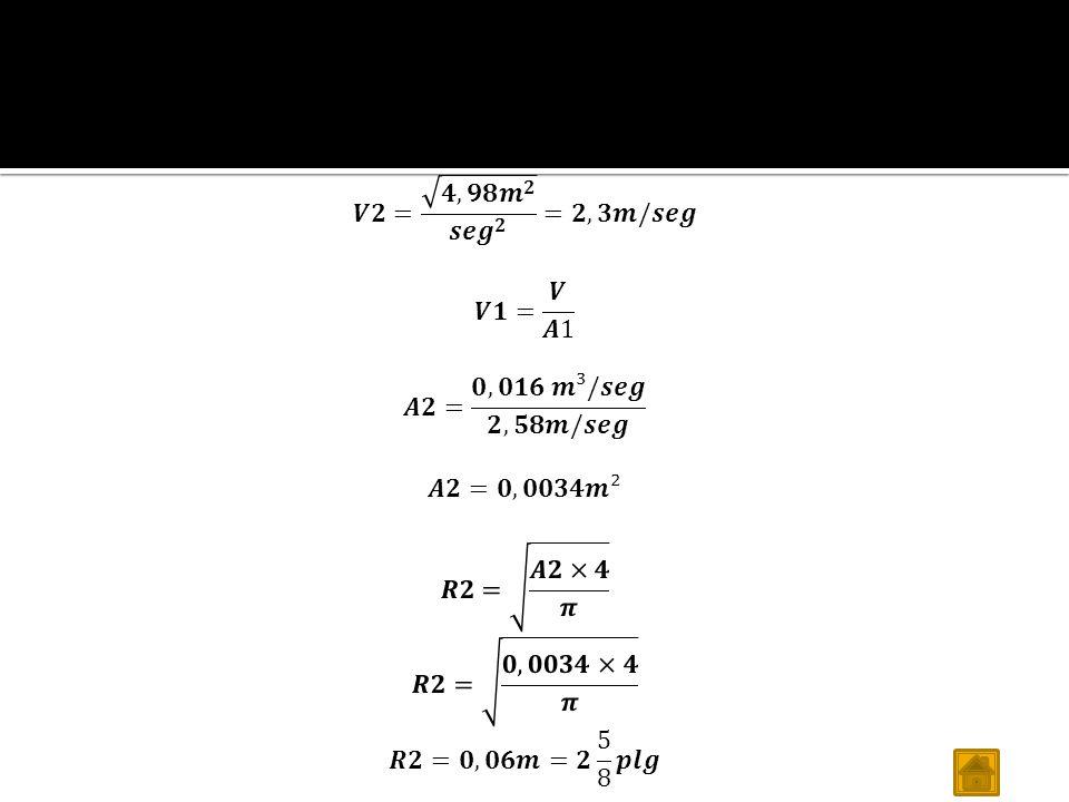 Calculo del A2 𝑽𝟐= 𝟒,𝟗𝟖 𝒎 𝟐 𝒔𝒆 𝒈 𝟐 =𝟐,𝟑𝒎/𝒔𝒆𝒈. 𝑽𝟏= 𝑽 𝑨1. 𝑨𝟐= 𝟎,𝟎𝟏𝟔 𝒎³/𝒔𝒆𝒈 𝟐,𝟓𝟖𝒎/𝒔𝒆𝒈. 𝑨𝟐=𝟎,𝟎𝟎𝟑𝟒𝒎².