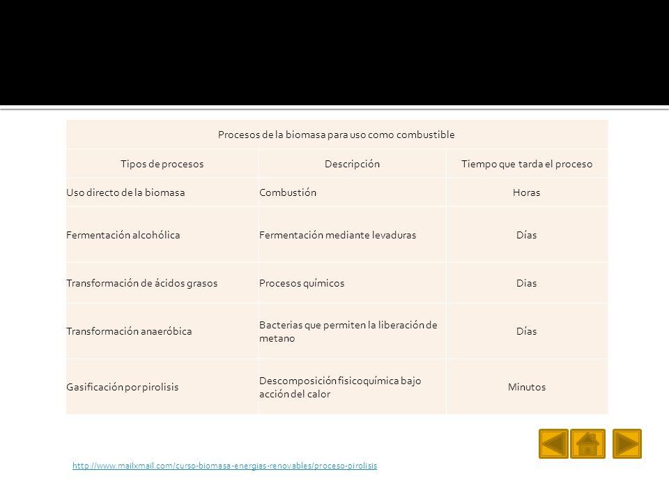 Procesos de la biomasa para uso como combustible Tipos de procesos