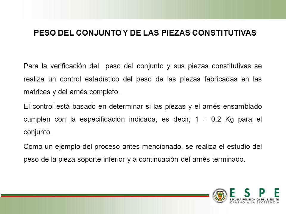 PESO DEL CONJUNTO Y DE LAS PIEZAS CONSTITUTIVAS
