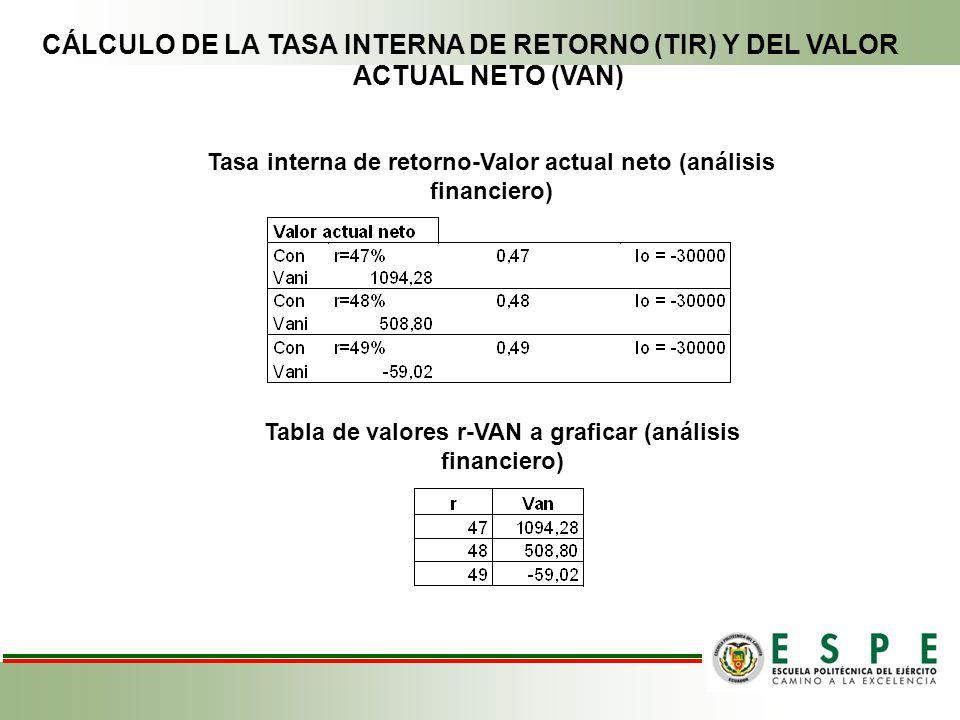 CÁLCULO DE LA TASA INTERNA DE RETORNO (TIR) Y DEL VALOR ACTUAL NETO (VAN)