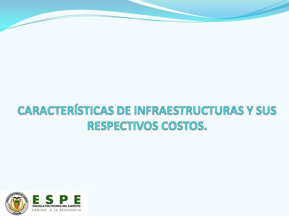CARACTERÍSTICAS DE INFRAESTRUCTURAS Y SUS RESPECTIVOS COSTOS.