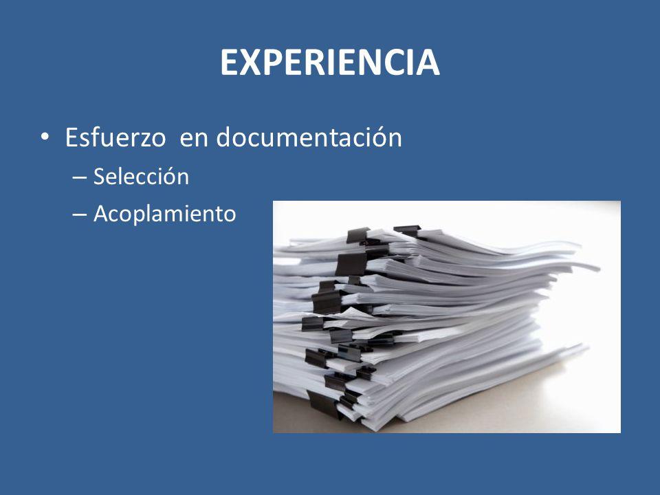 EXPERIENCIA Esfuerzo en documentación Selección Acoplamiento