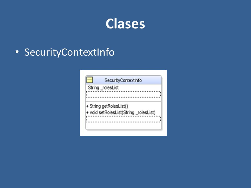 Clases SecurityContextInfo