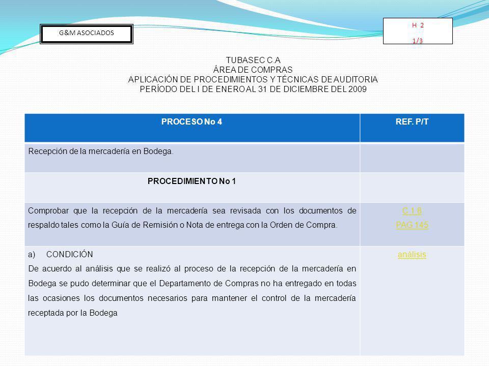 PROCESO No 4 REF. P/T PROCEDIMIENTO No 1