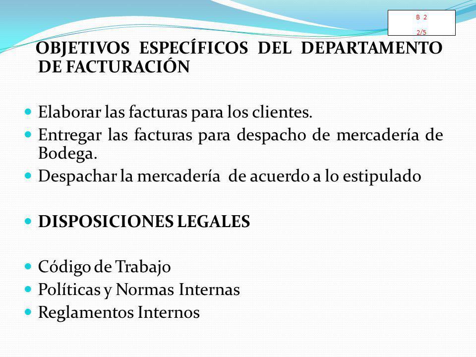 OBJETIVOS ESPECÍFICOS DEL DEPARTAMENTO DE FACTURACIÓN