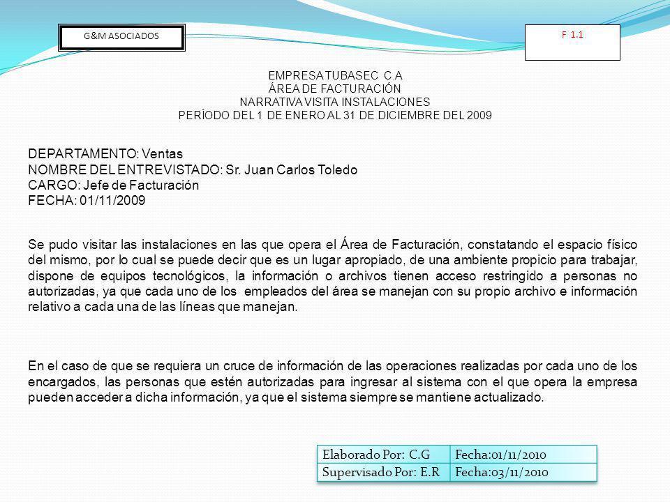 NOMBRE DEL ENTREVISTADO: Sr. Juan Carlos Toledo