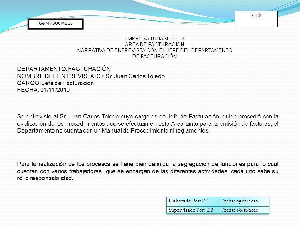 NARRATIVA DE ENTREVISTA CON EL JEFE DEL DEPARTAMENTO DE FACTURACIÓN