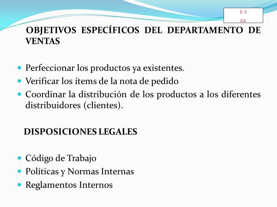 OBJETIVOS ESPECÍFICOS DEL DEPARTAMENTO DE VENTAS