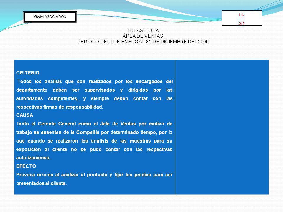 PERÍODO DEL I DE ENERO AL 31 DE DICIEMBRE DEL 2009