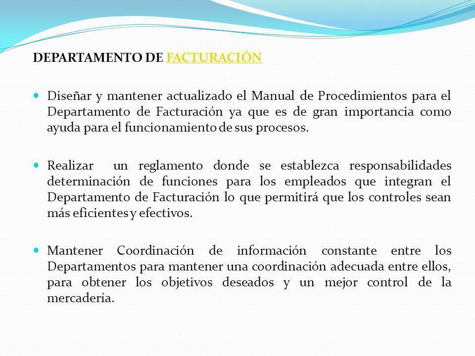 DEPARTAMENTO DE FACTURACIÓN