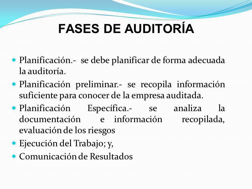 FASES DE AUDITORÍA Planificación.- se debe planificar de forma adecuada la auditoría.