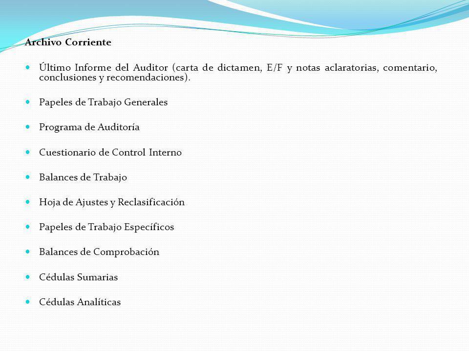 Archivo Corriente Último Informe del Auditor (carta de dictamen, E/F y notas aclaratorias, comentario, conclusiones y recomendaciones).