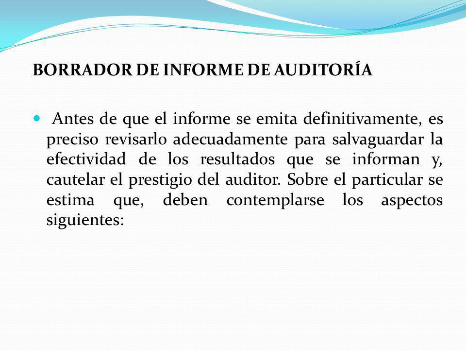 BORRADOR DE INFORME DE AUDITORÍA