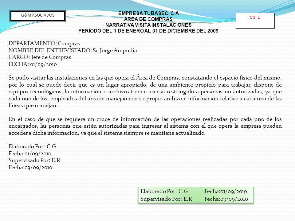 DEPARTAMENTO: Compras NOMBRE DEL ENTREVISTADO: Sr. Jorge Ampudia