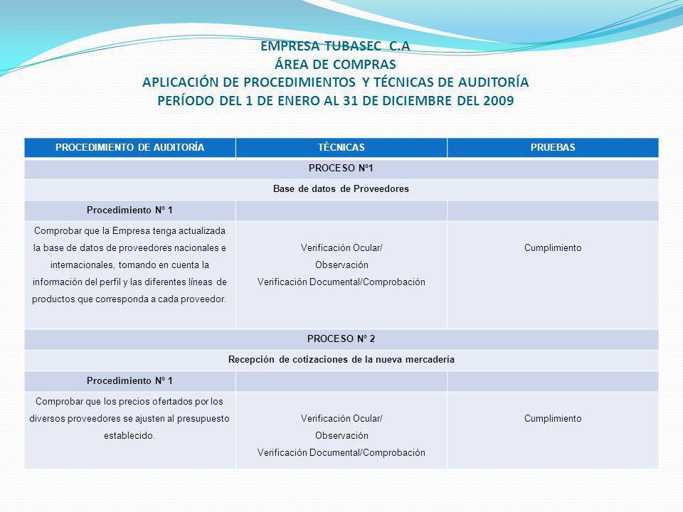 EMPRESA TUBASEC C.A ÁREA DE COMPRAS APLICACIÓN DE PROCEDIMIENTOS Y TÉCNICAS DE AUDITORÍA PERÍODO DEL 1 DE ENERO AL 31 DE DICIEMBRE DEL 2009