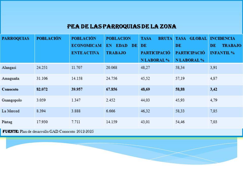 PEA DE LAS PARROQUIAS DE LA ZONA