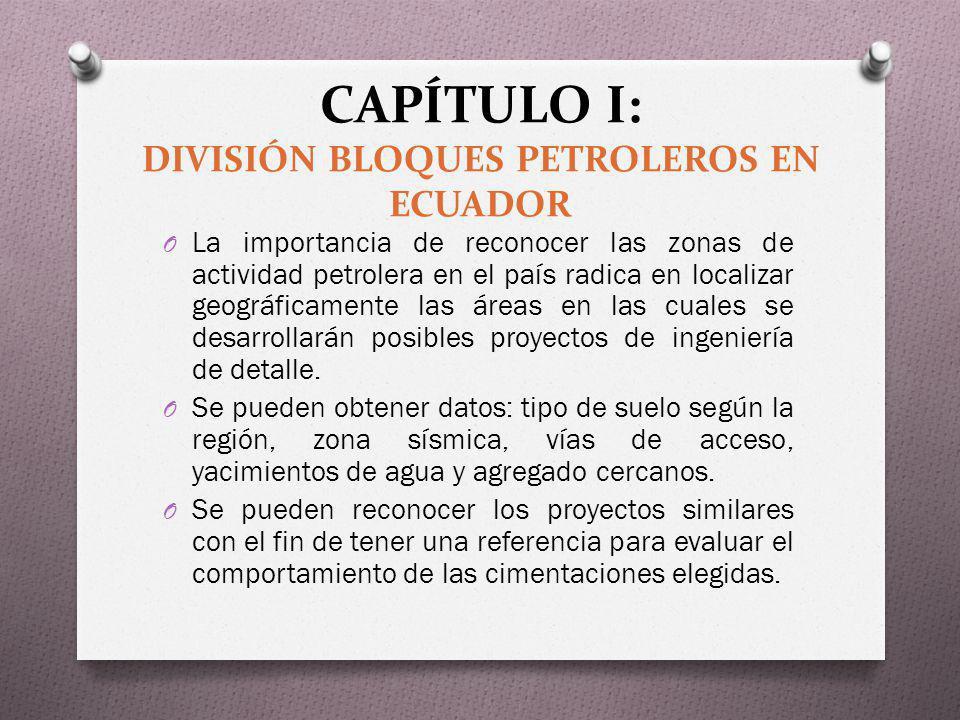 CAPÍTULO I: DIVISIÓN BLOQUES PETROLEROS EN ECUADOR