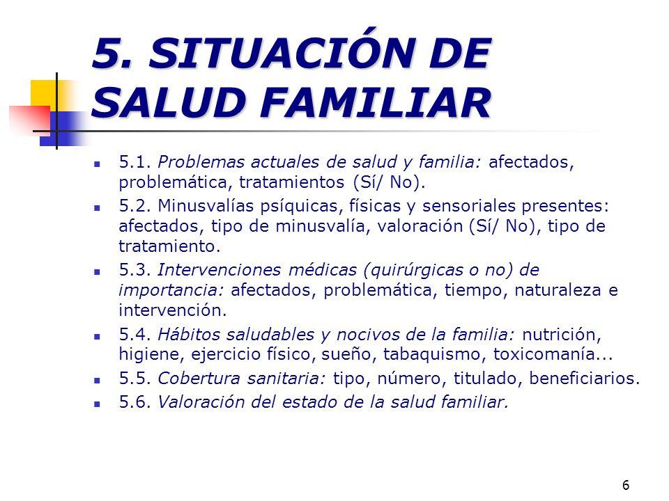 5. SITUACIÓN DE SALUD FAMILIAR
