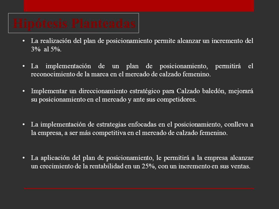 Hipótesis Planteadas La realización del plan de posicionamiento permite alcanzar un incremento del 3% al 5%.