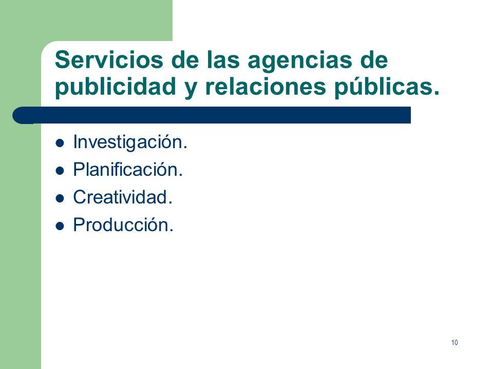 Servicios de las agencias de publicidad y relaciones públicas.