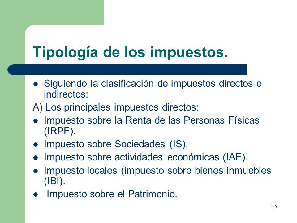 Tipología de los impuestos.